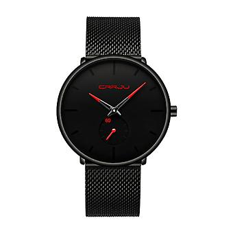 CRRJU Quartz Watch - Anologue Luxury Movement for Men and Women - Black-Red
