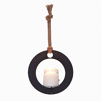 SE2168, Danya B. Decorative Round Rustic Pillar Candle Sconce with Rope and Mirror Wall Accent