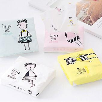60pcs/pack - 3 Ply Disposable Facial Tissues - Thickened Cute Colorful Cartoon Printing Sanitary Paper