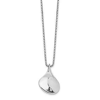 925 Sterling Silver Polished Gift Boxed Spring Ring Rhodium plated White Ice .01ct. Diamond Necklace 18 Inch Jewelry Gif