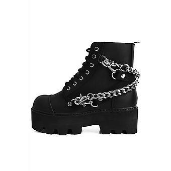 TUK Shoes Chain & Bondage Strap 7-Eyelet Stacked Sole Boot