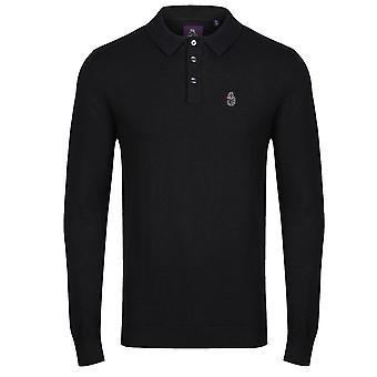 Luke | Magnesium 0616 Long Sleeve Polo Top - Black