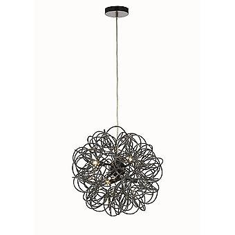 Déco inspiré - Cassidy - Pendentif plafond Sphérique Aluminium interwinding 6 Light G9 Noir