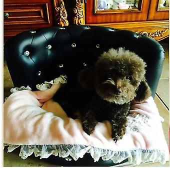 Luxe Droom Diamante Dog Bed Zwart