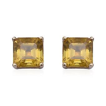 TJC 9ct Yellow Gold Yellow Sapphire Stud Boucles d'oreilles avec Push Back 2.70 Ct.