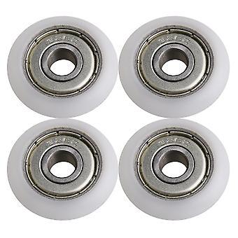 4KPL valkoinen metallilaakeri suoja hihnapyörät rulla 0.98x0.23x0.27inch