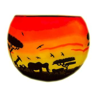 Milford Collection African Sunset Tealight Holder Light Glass
