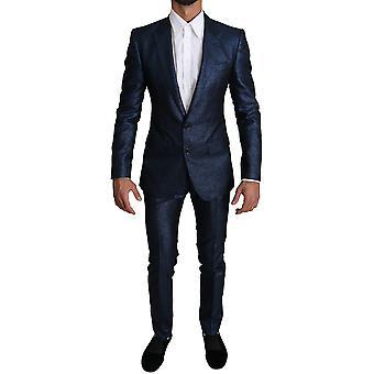 Dolce & Gabbana Blue Metallic 2 Piece Men MARTINI Suit