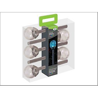 Smart Solar Crackle Globe Lights Stainless Steel x 5 1001031