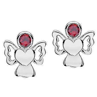 Jo For Girls Sterling Silver January Simulated Birthstone Angel Stud Earrings