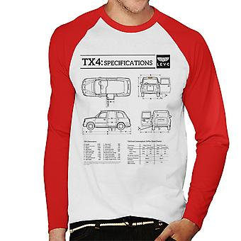 London Taxi Company TX4 Specifications Blueprint Men's Baseball Long Sleeved T-Shirt