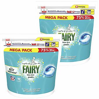 Fairy Clean & Gentle Care Non-Bio Washing Pods, 51 Capsules, Pack of 2