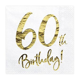 60th Birthday Party Paper Napkins x 20 White and Gold