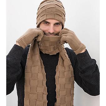 Frauen Männer solid Retro Mütze Hut Schal Handschuhe Set 3pcs Winter gestrickt dick