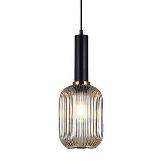 Italux Antiola - Moderno pendente appeso nero 1 luce con tonalità ambra, E27