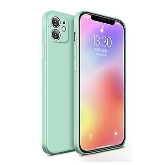 MaxGear iPhone 12 Mini Square Silicone Case - Soft Matte Case Liquid Cover Light Green