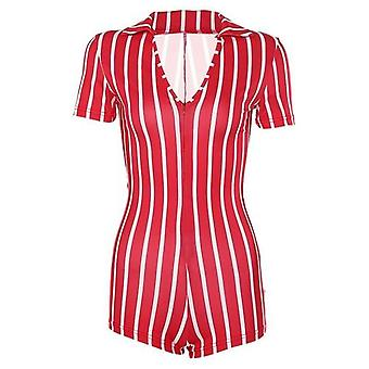 Donna Sexy Short Playsuit Red White Striped Short Sleeve Rompers
