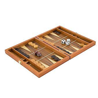 10-Zoll-Mahagoni Backgammon Reiseset mit Walnuss-Inlay