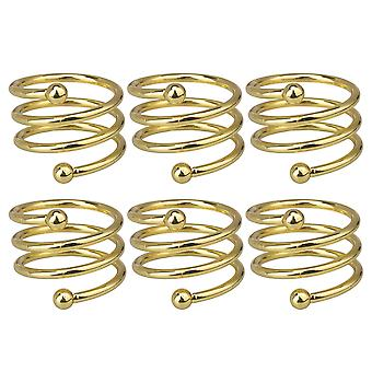 6Pcs Spiral Golden Napkin Rings for Christmas Decorations Ornements