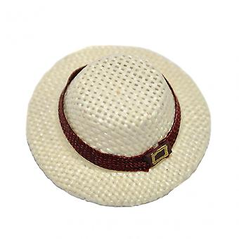בובות בית Mens קש פנמה כובע 1:12 בקנה מידה מיניאטורי אדם בובה הול אביזר