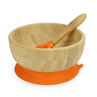 Bamboo Baby Suction Bowl & Spoon | M&W Orange