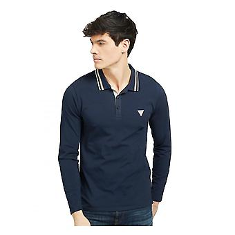 GUESS Guess Mens Oliver Poloshirt à manches longues Costumeing Blue