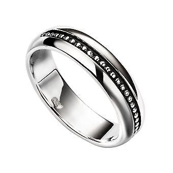 Elementer Sølv Kvinder's Indsat oxideret mønster ring