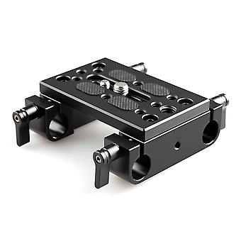 Smallrig base plate for camera, tripod mounting plate with dual 15mm rod clamp - 1775