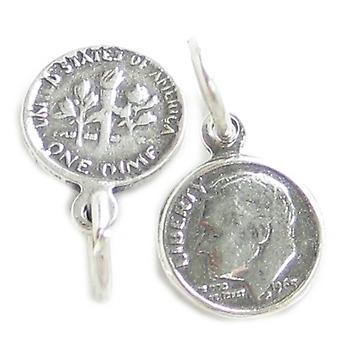 Roosevelt Dime Liten Sterling Silver Charm .925 X 1 Dimes Mynt Charms - 4222