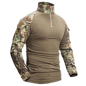 軍用迷彩コットン長袖軍戦術シャツの着用