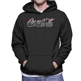 Coca Cola White Outline Striped Logo Men's Hooded Sweatshirt
