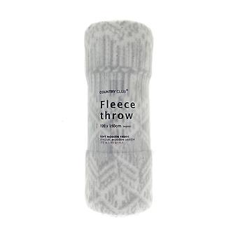Country Club Macrame Fleece Throw, Grey