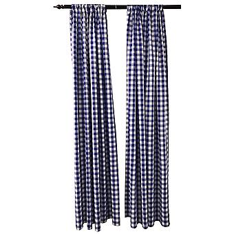 La Linen Pack 2  Polyester Gingham Checkered Backdrop, 58 By 96-Inch,Royal/White