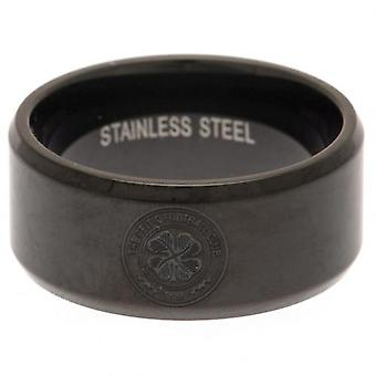 Celtic Black IP Plated Ring Large