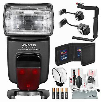 Yongnuo yn568ex iii speedlite wireless ttl master slave flash for canon dslr cameras with flash bracket, bounce diffuser, and basic bundle