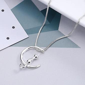 Necklace moon with cat in both silver and gold