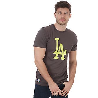 Menns New Era Team Logo Los Angeles Dodgers T-skjorte i grå