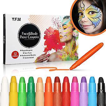 Y.F.M Schminkstifte Kit, 12 Farben Abwaschbare und Helle Farbige Krper Kunst Tattoo Malstifte