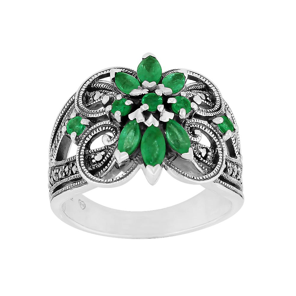 Sterling Silver 0.74ct Emerald & Marcasite Cocktail Ring