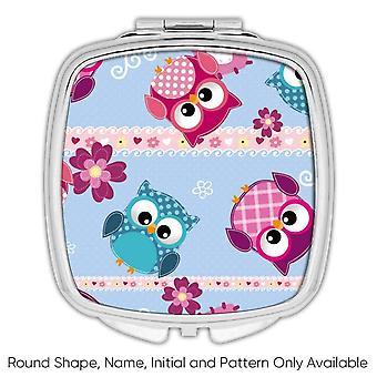 Gift Compacte Spiegel: Patchwork Baby Owls Dots