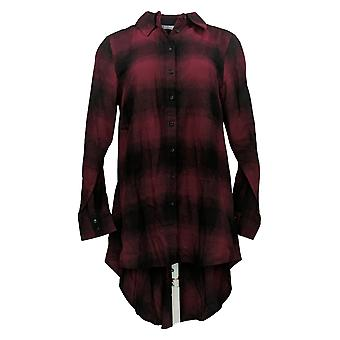 Lisa Rinna Collection Plaid Button Front Hi-Low Zoom Top Rood A366021