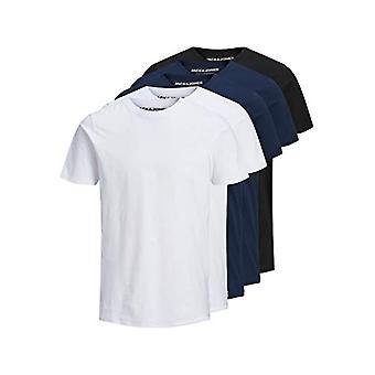 JACK & JONES JJEORGANIC Basic Tee SS O-Neck 5PK MP T-Shirt, Schwarz/Pack:2white 2navy 1black, L Herren