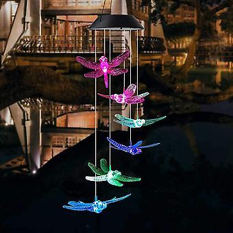 Dragonfly LED Solar Wind -kellot, muistomerkki roikkuu tuulikello kotipuutarhan koristeluun, automaattinen valon vaihtoväri