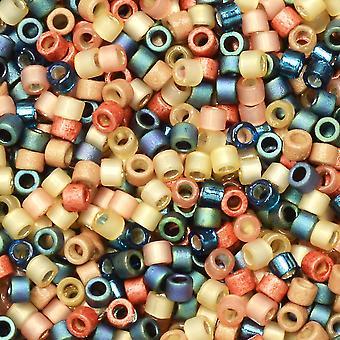 Perline di semi Miyuki Delica, taglia 11/0, tubo da 7,2 grammi, #MIX9090 surf e mix di sabbia