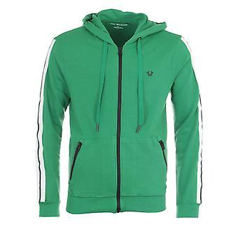 True Religion Zip Up Metal Logo Hooded Sweatshirt - Green