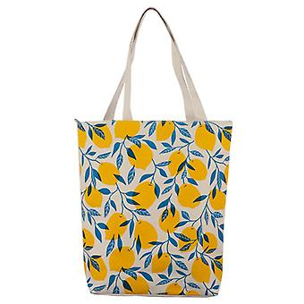 Lemons Handy Cotton Zip Up Shopping Bag