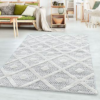 Kort bunke design tæppe PIA Looped Flor 3-D diamanter kvadrat gitter mønster