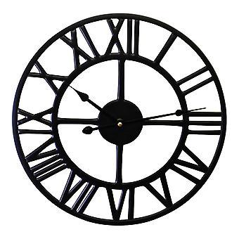 svart metall romersk tall vegg klokke 39cm