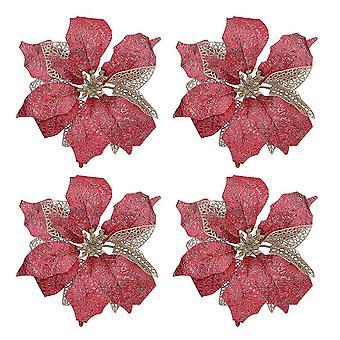 4pcs Fake Vivid Flower Decoration Diy Christmas Ornament Simulation Flower Adornment For Party Christmas