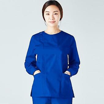 Ženy Scrub Top s dlhým rukávom Pracovný odev Bavlnený zips Kabát Veľké vrecká Dojčenie
